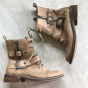 Lucky Brand Nolan Tan Buckle Lace Up Boots